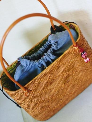 手縫いで、バケツ型バックの内袋+アタバック