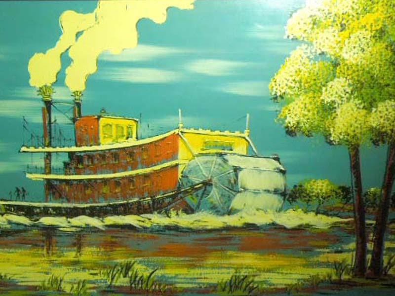Antique Art/トム・ソーヤーの冒険の舞台となったミシシッピー川の油絵