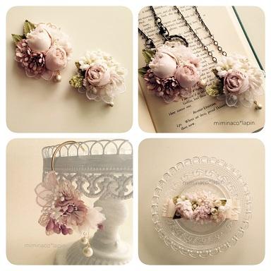 ピンクの布花画像