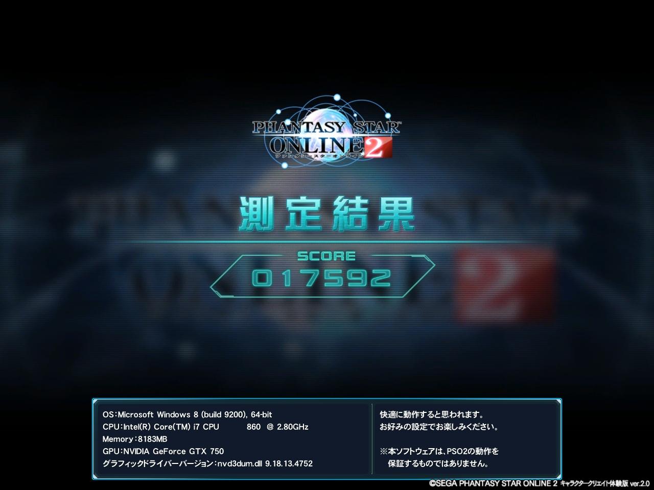PSO2_ベンチマーク結果(GeForceGTX750+Corei7)