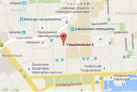 Karta Yliopistonkatu ヘルシンキ 地図