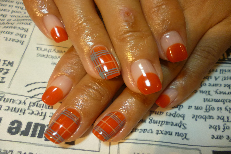 ブレンドオレンジ丸フレンチネイル チェック柄ネイル