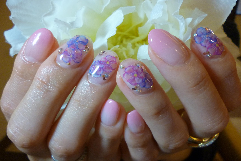 春ネイル 水彩風お花シールネイル