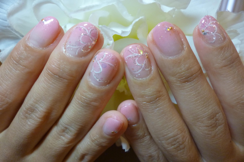 春色ピンクグラデーション ふんわりお花アートネイル