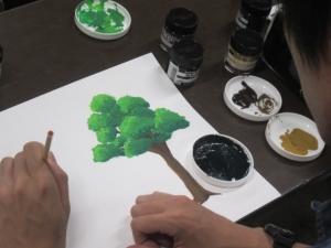 アニメ背景で木を描く