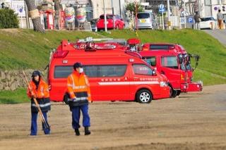 乙川河川敷 消防出初式の準備