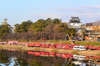 平成27年 岡崎市消防出初式会場と岡崎城