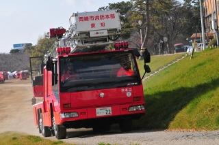 平成27年 岡崎市消防出初式 撤収風景 はしご付消防ポンプ自動車(40m)