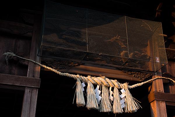 味鋺神社拝殿の注連縄