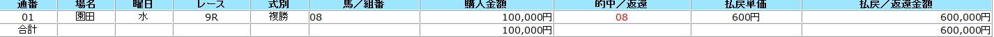 園田9R 複勝馬券
