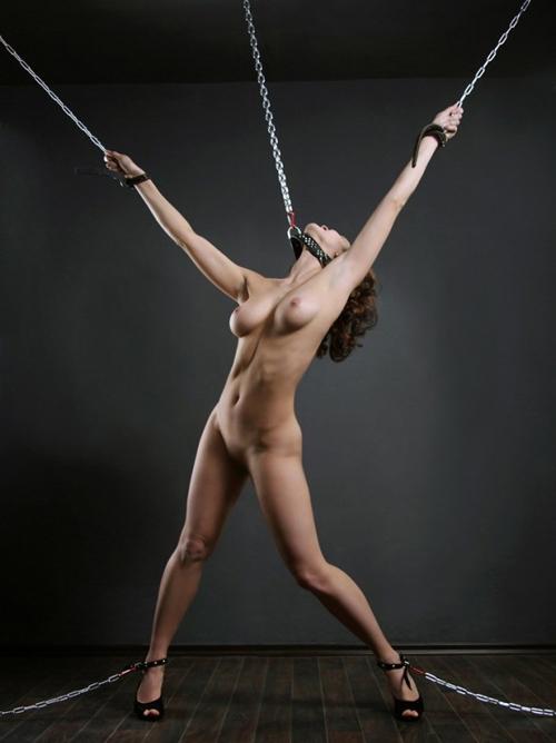 【SMエロ画像】縄よりも束縛が強く見えるwM女の抱く絶望感も凄まじい鎖拘束www