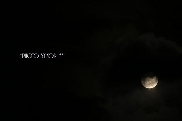 薄雲の中のほぼ満月