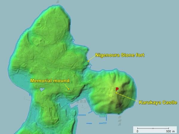 Karukaya Castle topography