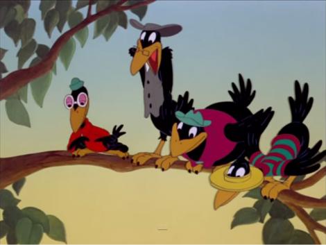 ディズニー映画「ダンボ」に登場する黄色いクチバシ、黄色い足のカラスたち