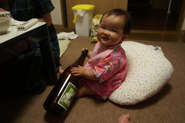 一升瓶と娘