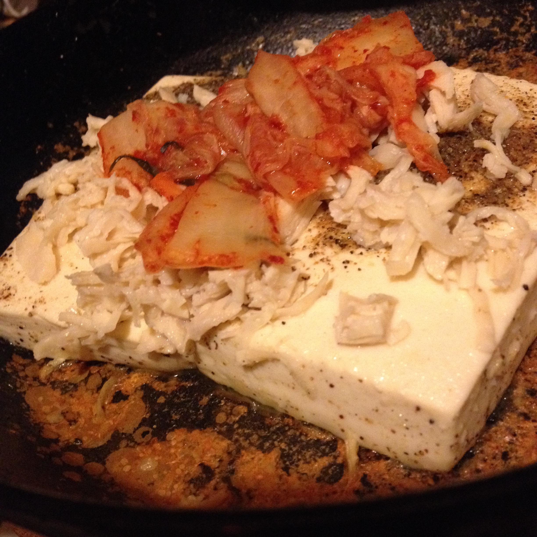 豆腐ステーキキムチと鶏載せ