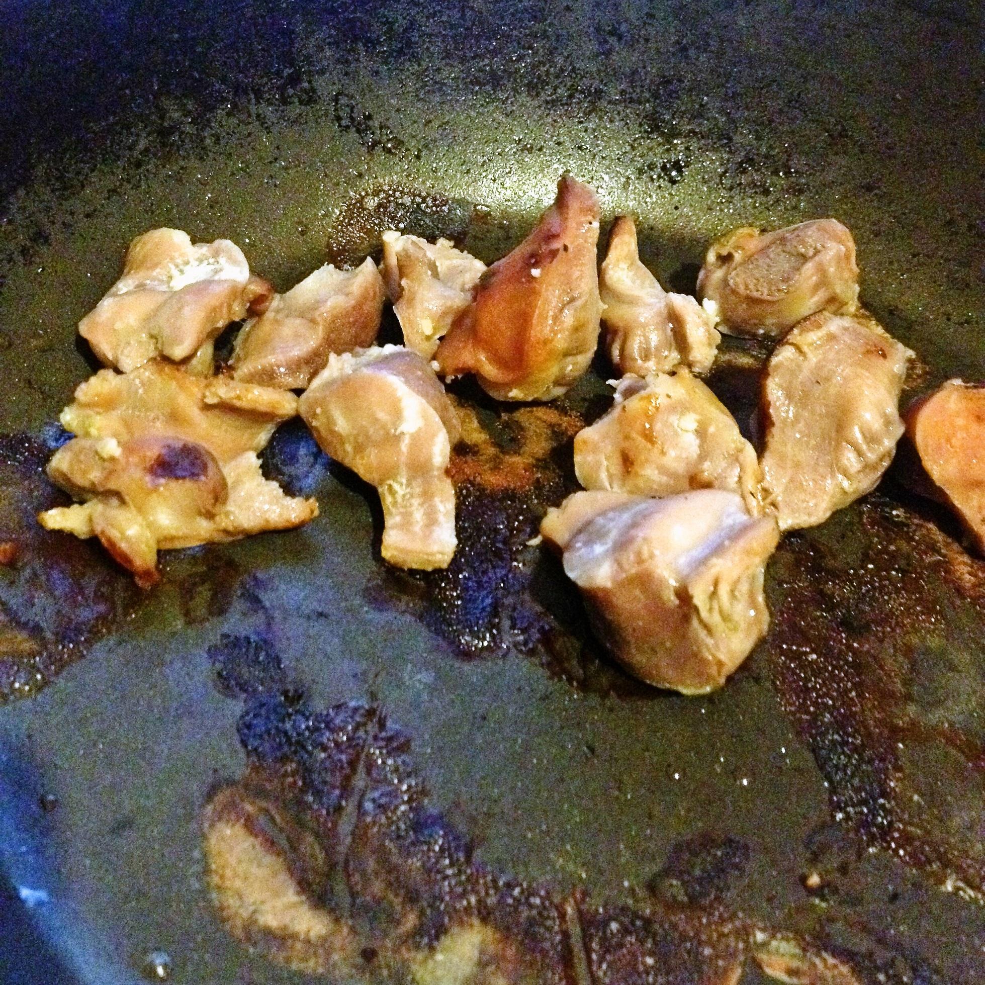 鶏砂肝の塩糀漬焼き