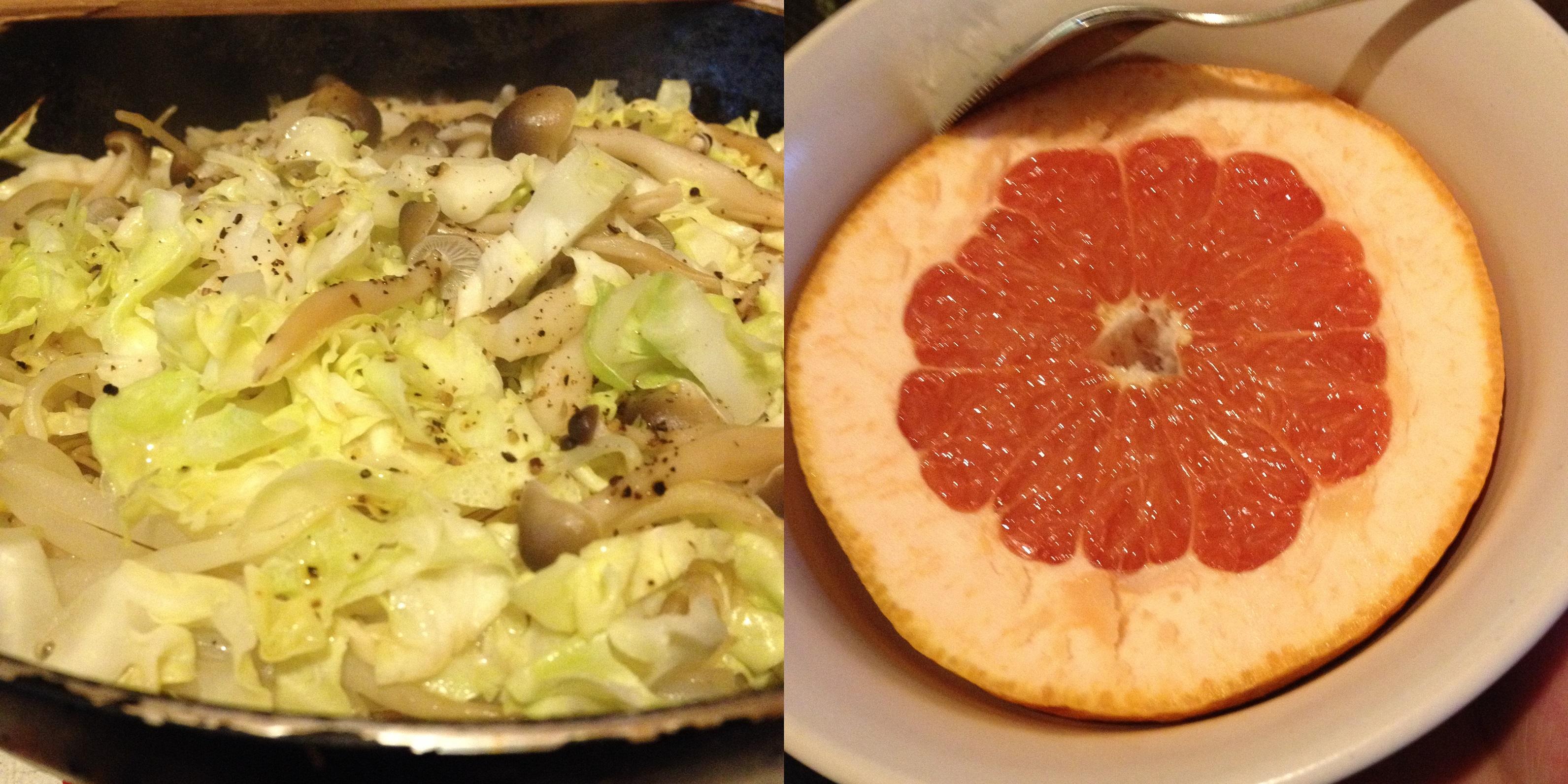 夜食の焼きビーフンとグレープフルーツ