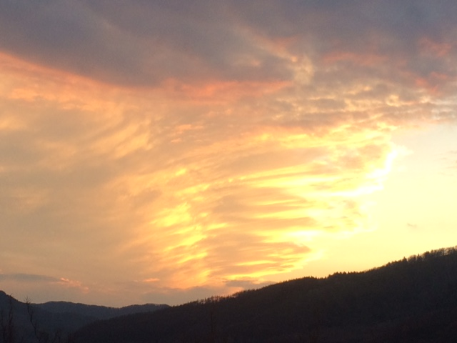 かなやま湖の夕焼け