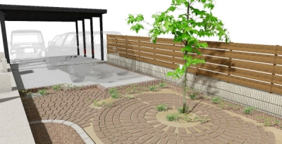 お庭の改修工事イメージパース