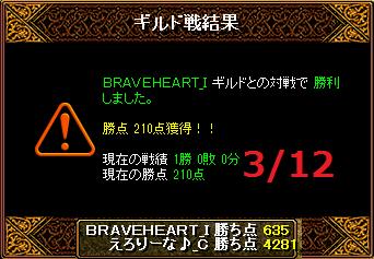 3月12日えろりなvsBRAVEHEART