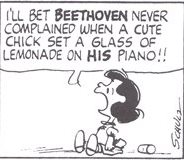 シュローダー_ピアノ(36)ベートーヴェンだったら 可愛い女の子がレモネードのカップをピアノに置いたって 文句なんか言わなかったわよ