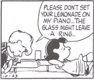 シュローダー_ピアノ(33)飲みかけのレモネードのコップなんか置かないでください