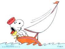 ヨットに乗るスヌーピー