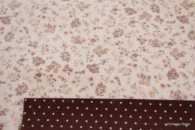 花柄×ドットリバーシブル ブラウン