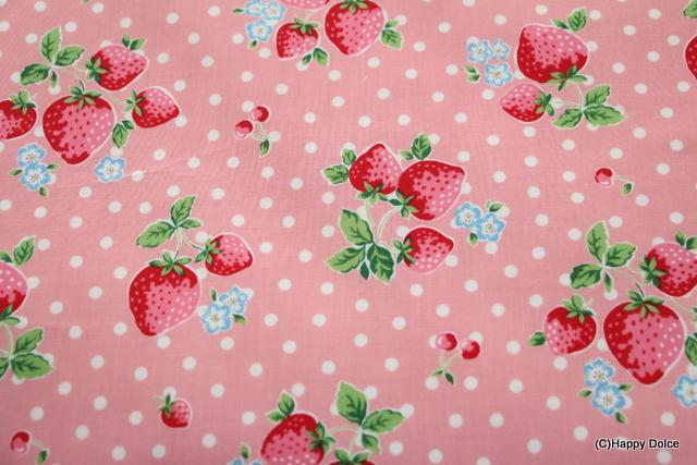 ピンクベース ベリーコットン 水玉&いちご