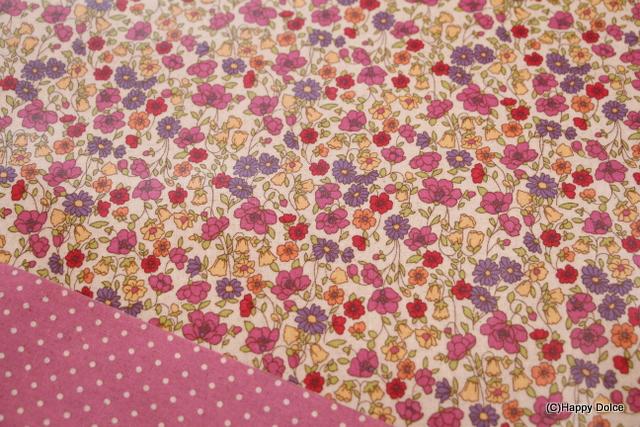 花柄×ドットリバーシブル ピンク