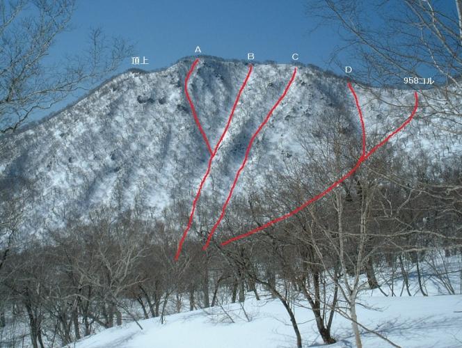 来馬岳北東面各ルンゼ2009-4-29