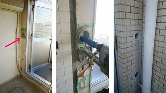 外壁穴あけ工事