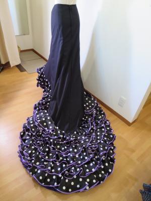 黒・水玉バタ 紫トリミング