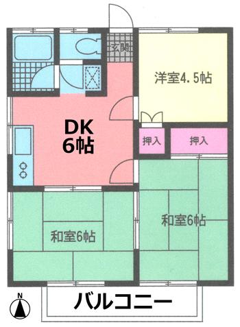 ■物件番号3947 茅ヶ崎小学校学区の格安3DK!ハイム中海岸201号カド!P無料1台付で6.3万円!