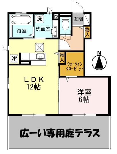 ■物件番号4764 東海岸!1LDK+WIC!駐車場無料1台付!広い専用庭付!アルソック完備!9.7万円!