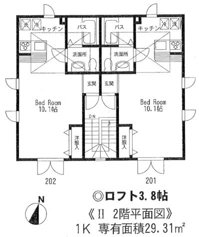 ■物件番号3736 輸入住宅1ルーム+大型ロフト!ペットOK!海まで3分!屋外シャワー!日当り最高!