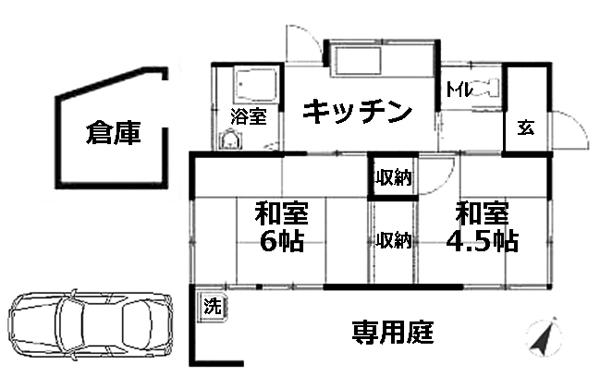 ■物件番号4064 辻堂海側!昭和レトロ平屋!P1台付!激安5万円!庭付!2Kタイプ!最安値!