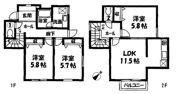 ■物件番号P4078 ペット可テラスハウス!海近!74平米3LDK!P無料1台付9.9万円!買い物便利!