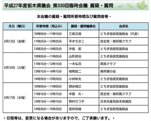 栃木県議会<第330回 臨時会議>開議!②