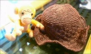 夏のひらひら帽子(ブラウン)