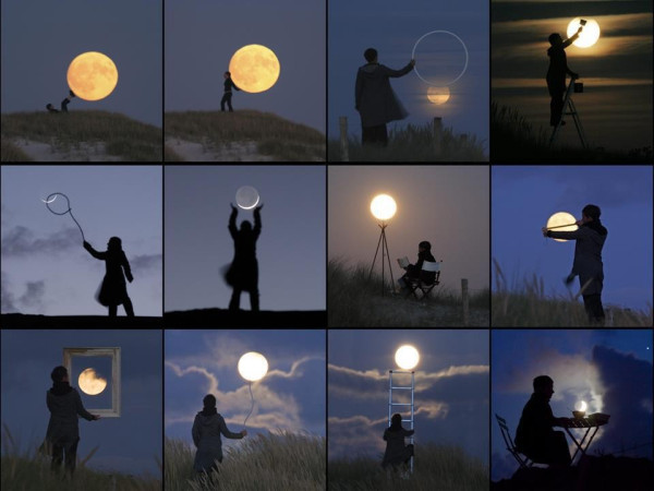 丘の上の月