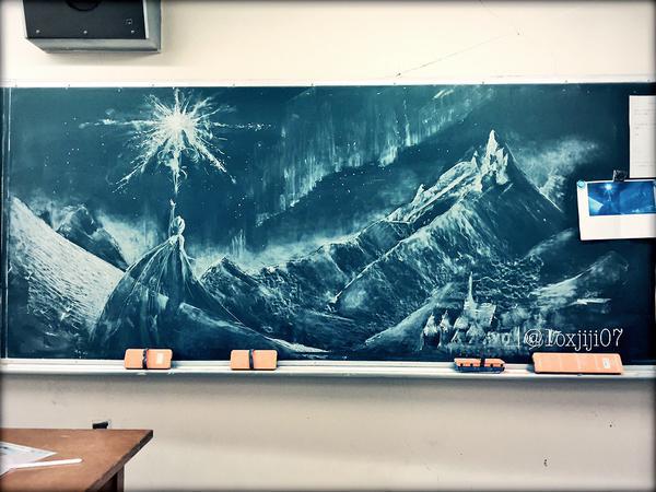 黒板にお絵描き