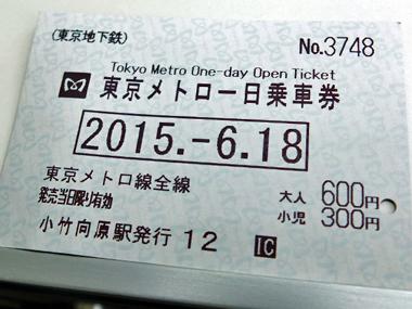 1東京メトロ一日乗車券0618