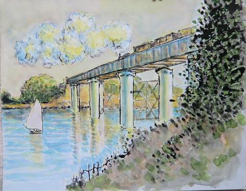 ネット模写モネ鉄橋
