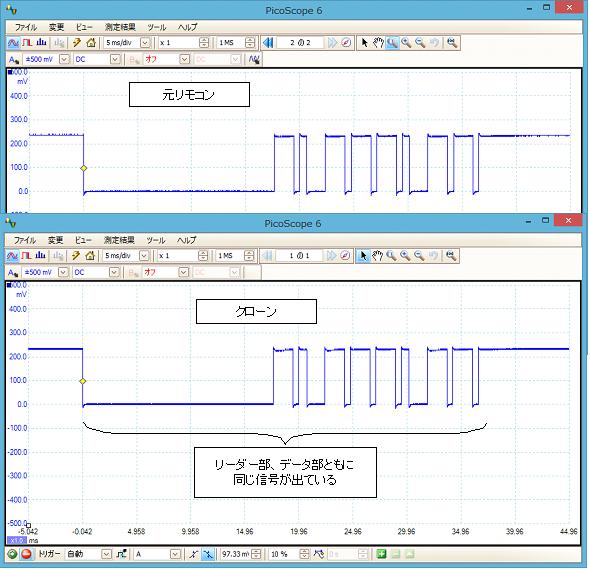 デアゴスティーニ零戦(クローンリモコン製作)改造波形比較