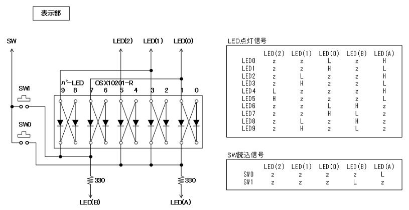 降圧型SW電源表示部回路図