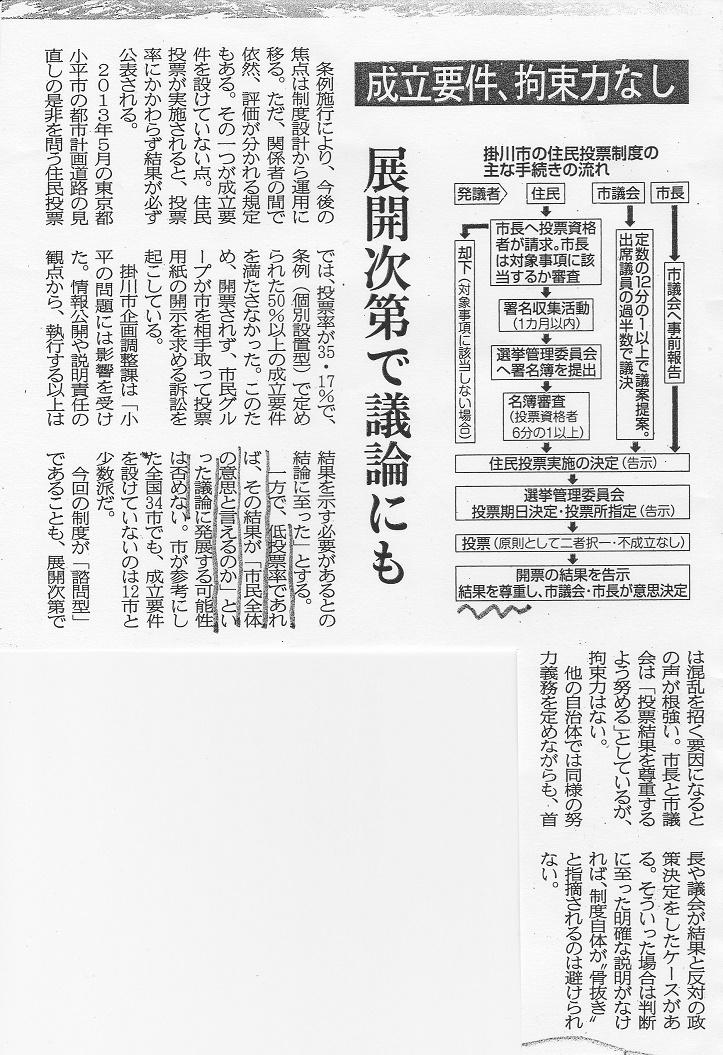 静岡新聞 掛川住民投票2