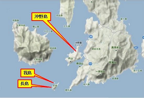 5)大柿町南部 沖野島・長島・我島