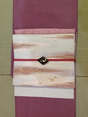 鮫小紋×つづれ帯1